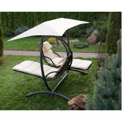 Двойное подвесное кресло качели LUNA-CONSEPT (белые) + балдахин в подарок