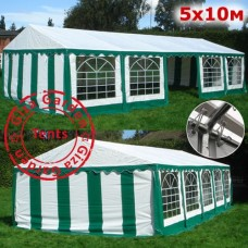 Шатер павильон  5х10м белый-зеленый
