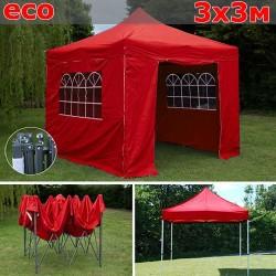 Быстросборный шатер-гармошка со стенками 3х3м красный