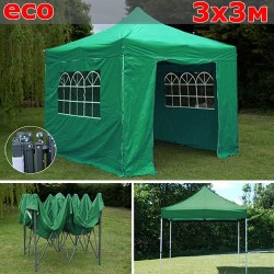 Быстросборный шатер-гармошка со стенками 3х3м зеленый