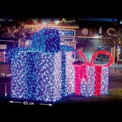 LED Коробка-подарок белый-синий