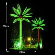 Дерево световая кокосовая пальма зеленая высота 3м.