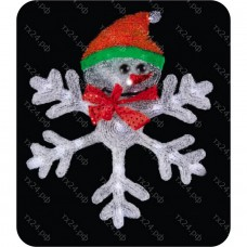 "2D LED-фигура ""Снежинка со Снеговиком "", диаметр 46,5 см"