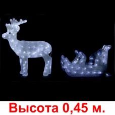"""3D-LED Фигура """"Олень с санями"""", 45х50 + 45х35 см"""