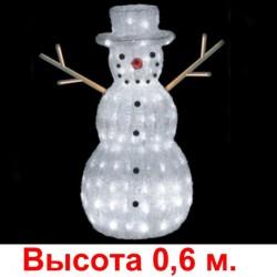 3D-LED Фигура «Снеговик-лесовик», 60х25 см