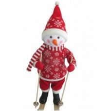 Фигура Снеговик на лыжах высота 66 см красный