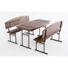 Комплект садовый стол, 2 скамьи (темный)