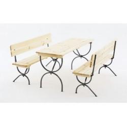 Комплект садовый стол, 2 скамьи