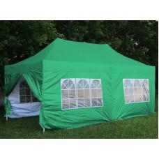 Шатер-гармошка 3х6м, зеленый+6 стенок