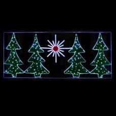 """LED панно """"Ёлки зеленые с мишурой"""", пост. свечение, 300х130 см"""