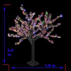 """LED-""""Японская ива"""" пушистая, переливающиеся RGB светодиоды, высота 2.5м"""