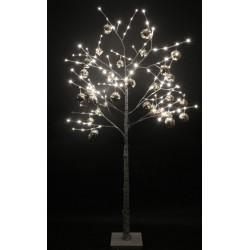"""LED-Дерево """"Берёзка"""", 250 см, 144 светодиода, белая c серебряными шариками"""