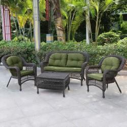 Плетеный комплект для отдыха серый с подушками