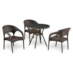 Комплект мебели из иск. ротанга T283ANT/Y90C-W51 Brown (3+1)