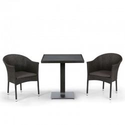 Комплект мебели из иск. ротанга T607D/Y350B-W53/51 Brown (2+1)