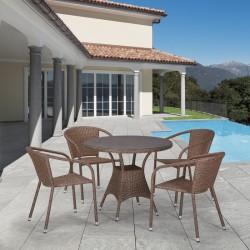 Комплект мебели из иск. ротанга T197AT/Y137C-W56 Light brown (4+1)