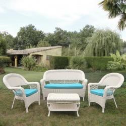 Плетеный диван с креслами и столиком белого цвета