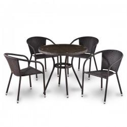 Комплект мебели из иск. ротанга T283ANT/Y137B-W51 Brown (4+1)